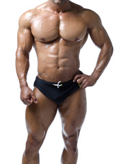 Shirtless male bodybuilder, really muscular body