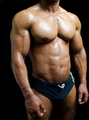 Shirtless male bodybuilder in trunks, really muscular body