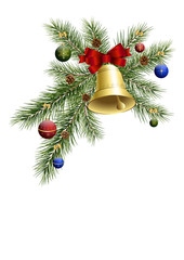 Weihnachtsdeko mit Tannenzweig und Glocke