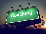Coaching - Billboard on the Sunrise Background.
