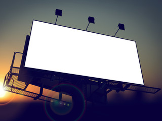 Blank Billboard on the Rising Sun Background.