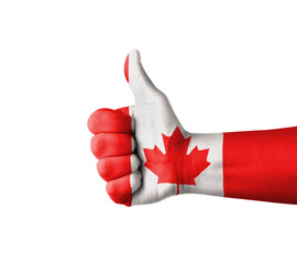 Hand with thumb up, Canada flag painted