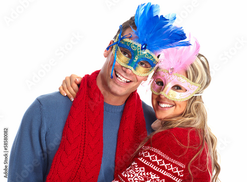 Happy couple with mask.