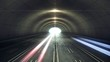Car lights trail in a tunnel (LOOP)