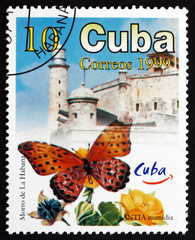 Postage stamp Cuba 1999 Butterfly and Morro Castle