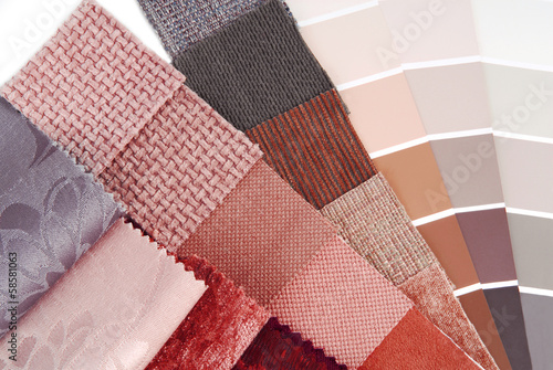 upholstery  tapestry and curtain color selection for interior - 58581063