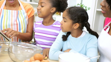 African American Girls Mom Grandma Baking Lesson