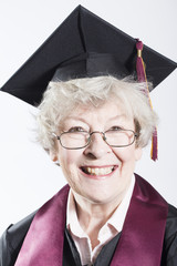 Elderly woman gradates from college