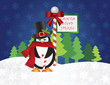 Penguin Top Hat at Santa Stop Here Sign Vector Illustration
