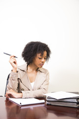young african american woman working at desk