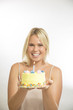 woman holding cake