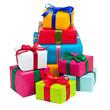 Leinwanddruck Bild - Stapel bunte Geschenke