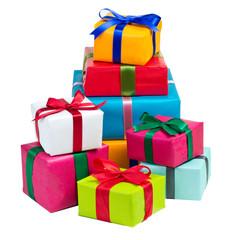 Stapel bunte Geschenke