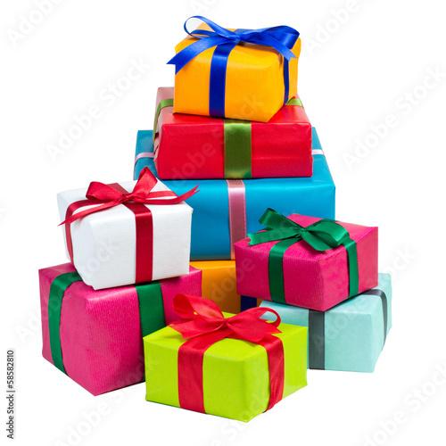 Leinwanddruck Bild Stapel bunte Geschenke