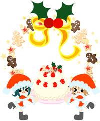 サンタクロースの格好をした少女たちが、大きなクリスマスケーキを持ってやってきた。