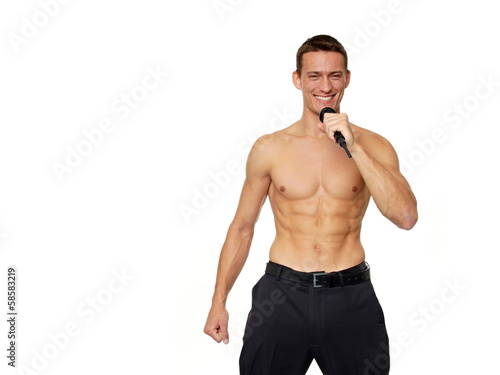 Karaoke with athletic young man shirtless