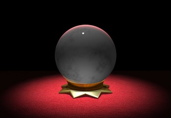 Illustration of Crystal Ball on Red Cloth