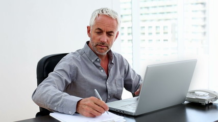 Casual businessman working on laptop at desk