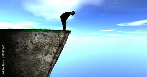 Illustration of a Silhouette of a Guy Looking over a Cliff