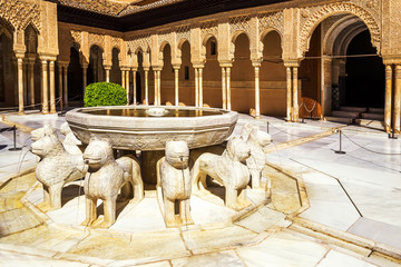 Famous Lion Fountain - Alhambra Palace, Granada, Spain.
