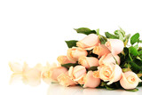 Fototapety Beautiful bouquet of roses, isolated on white