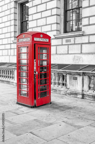 English call box in London - 58585015