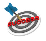 Dart hiting the target with success text on it