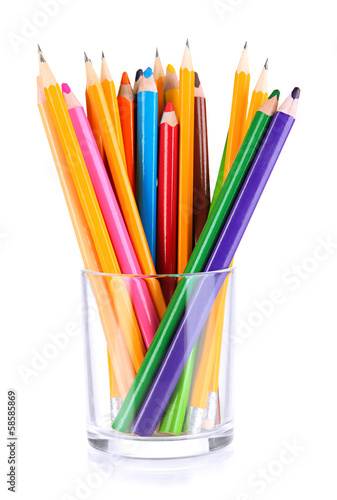 Colorful pencils in glass  isolated on white