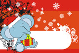 elephant cartoon xmas claus bg