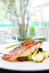 grilled barramundi steak
