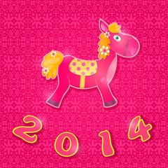 Card with Horse Symbol of 2014 New Year