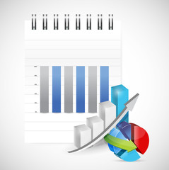 notepad graph and pie chart illustration