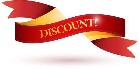discount red ribbon illustration design