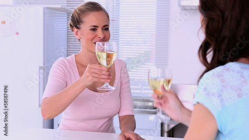 Friends drinking white wine and chatting