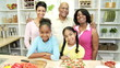 Young Girls Kitchen African American Mother Grandparents