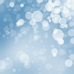 Transparent blue and white Christmas bokeh balls illustration