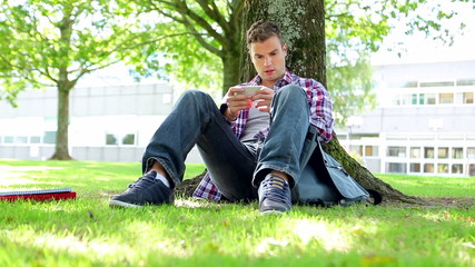 Young student sitting on the grass texting
