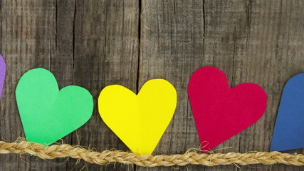 Colorful paper hearts slider shot