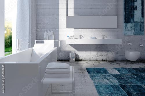 Modern bathroom interior with concrete wall