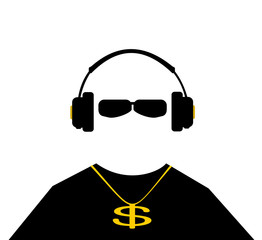 man wearing headphones and gold chain