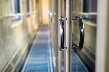 The corridor to the sleeping car trains