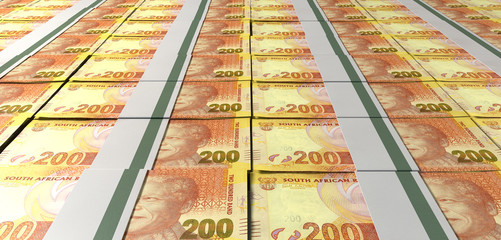 Rand Bill Bundles Laid Out