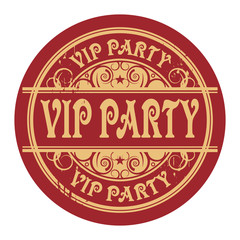 Grunge rubber gold stamp with the words Vip Party written inside