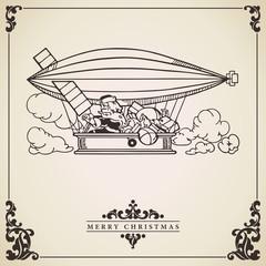 Santa Claus in dirigible. Vector card.
