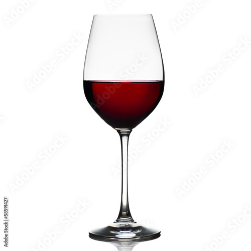 Staande foto Wijn Red wine glass isolated