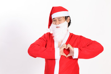 Santa man making sign Heart isolated on white background