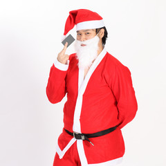 Isolated santa claus show card on overwhite background - clippin