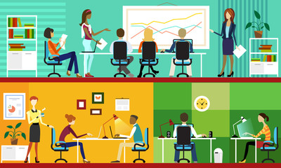 Office Vectore Illustration. Colleagues at the meeting.