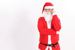 Isolated santa claus use mobile phone on overwhite background