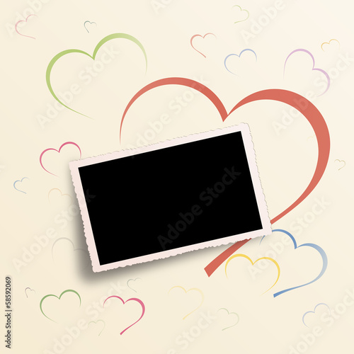 Vector Valentine day background with old picture